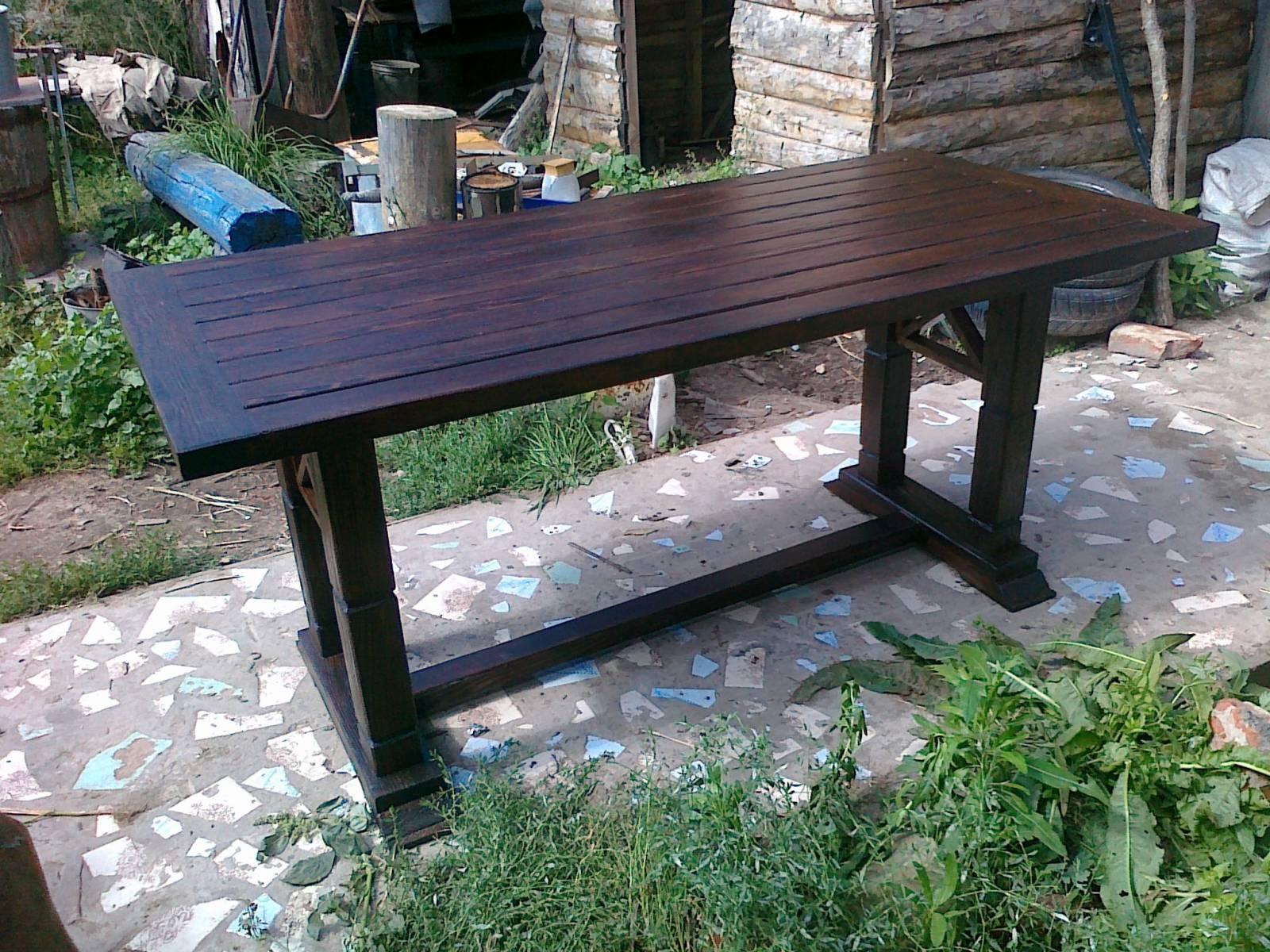 Стол для дачи из металла и дерева своими руками